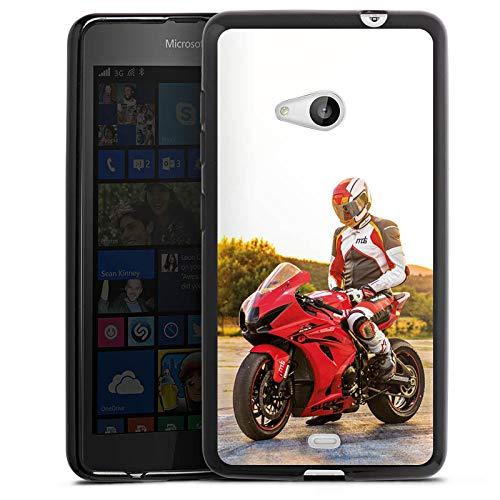 DeinDesign Silikon Hülle kompatibel mit Microsoft Lumia 535 Dual SIM Hülle schwarz Handyhülle YouTube Motorrad Motorsport