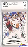 Dak Prescott 2016 Leaf Draft #2 ROOKIE BECKETT 10 MINT! Shipped in Ultra Graded Card Sleeve to Protect It! Awesome Rookie Card of Dallas Cowboys Young Superstar Quarterback & Top NFL Pick!