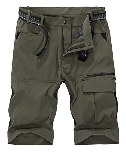 Vcansion Men's Outdoor Lightweight Quick Dry Hiking Shorts Sports Casual Shorts Army Green US 34
