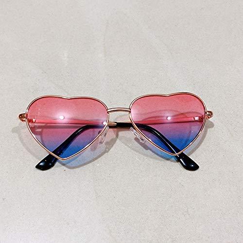 xingxing Gafas de sol polarizadas de metal con forma de corazón UV400 para niños (color del marco: otro, color de las lentes: azul K rosa)