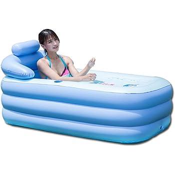 OUkANING - Bañera hinchable portátil de PVC plegable, color azul ...