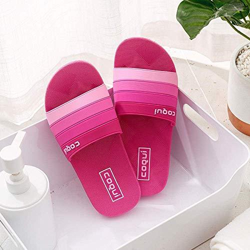 Liuchang - Sandalias unisex con puntera abierta para adultos, para parejas, zapatillas de baño de casa, zapatillas de baño, con fondo suave, color rojo rosa 37, zapatos de agua para piscina liuchang20