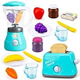 TOY Life Kid Blender Toy Toaster Kitchen Pretend Play Set with Realistic Light Sound Effect Play Food Kitchen Accessories Set for Kids Toddlers Learning Kitchen Toys for Grils Includes Plates Utensils