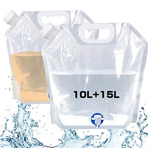 Mefine Wasserkanister Faltbarer 10L+15L, Faltkanister Tragbare Wasserbehälter Wassertank mit Wasserhahn;Perfekt für Camping, Wandern, Klettern oder andere Aktivitäten im Freien