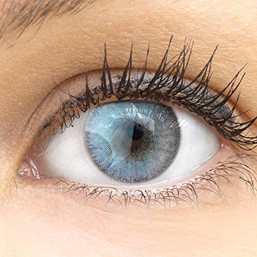 GLAMLENS Mirel Ice Gray grau + Behälter | Sehr stark deckende natürliche graue Kontaktlinsen farbig | farbige Monatslinsen aus Silikon Hydrogel | 1 Paar (2 Stück) | DIA 14.00 | Ohne Stärke