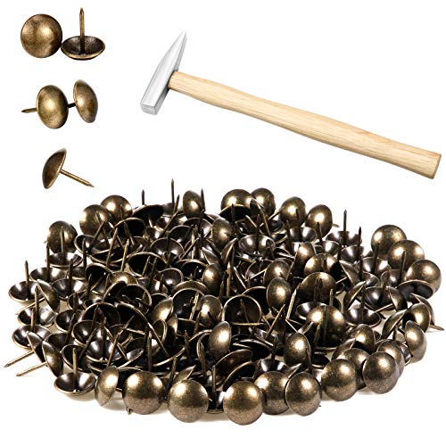 200 Pieces Antique Upholstery Green Bronze Sofa Head Tacks Furniture Nails Furniture Pins for Furniture Door Soft Package Decoration, and a Small Hammer with Wooden Handle, 3/4 Inch