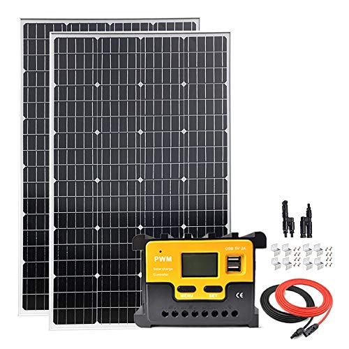 Giosolar 200Watt 12Volt Pannello Solare Mnocrystalline Starter Kit W/20A LED Charge Controller, Cavo Solare, MC4y Branch Connector