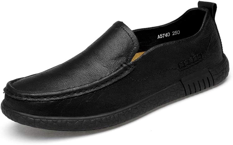 Loafer für Herren Business Stiefel Mokkassins Schlupfschuh OX Leder runde Zehe (hohl optional), Schwarz - Schwarz - Größe  43 EU