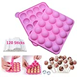Cake Pop Moulds Silicone Lollipop Mould +120 Sticks Ice Ball Tray Molds Pop Cake Moulds BPA Free for Hollow Chocolate Candy Gumdrop Jelly (Cake Pop Mould)