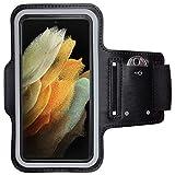 CoverKingz Sportarmband für Samsung Galaxy S21 Ultra 5G - Armtasche mit Schlüsselfach Galaxy S21 Ultra 5G - Sport Laufarmband Handy Armband Schwarz