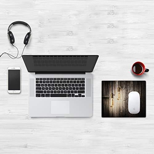 Comfortable Mouse Pad 32x25 cm,Industrial, Innovación histórica Edison Revival Electricidad retro Tablones de mader,Base de Goma Antideslizante Wipe Washable para Gamers Ordenador, PC y Laptop32x25 cm