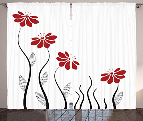 """Ambesonne Flower Curtains, Floral Petals with Striped Leaves and Lines Modern Style Geometrical Design Print, Living Room Bedroom Window Drapes 2 Panel Set, 108"""" X 84"""", Red Black"""