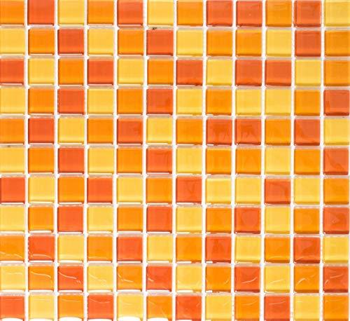 Mosaikfliese Transluzent gelb orange rot Glasmosaik Crystal gelb orange rot MOS72-0802