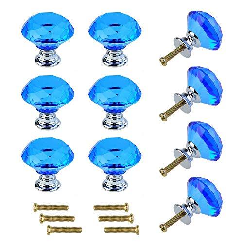 10 pomos de cristal de cristal con forma de diamante, para armarios, cajones de cocina, armarios, tiradores de cristal, tiradores de cajón, armarios, armarios, tiradores de armario, azul