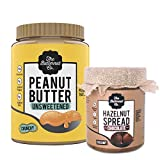 Peanut Butter Unsweetened Crunchy 1Kg & Chocolate Hazelnut Spread Creamy 200 gm Pack of 2 (No Refined Sugar Vegan No Preservatives)