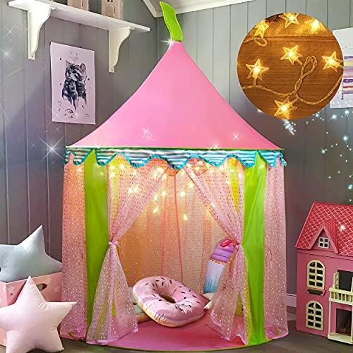 Tente de Jeu Enfant ave Guirlande Lumineuse Étoile+ Sac de Transport, Château de Princesse Tente, Tipi Pop-up Portable, intérieur et extérieur, idée Cadeau, 41 x 55 (DxH)