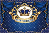 Yeele 7x5ft Royal Blue Birthday Backdrop Navy Blue Curtain Gold and Blue Crown Photography Background for Royal Theme Party Kid Birthday Baby Shower Dessert Table Decor Baby Room Photobooth Props