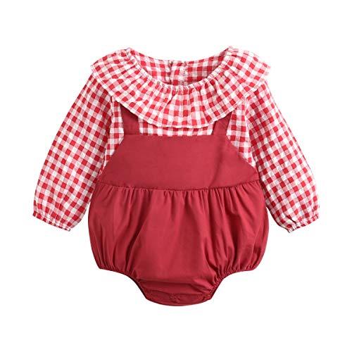 Sanlutoz Recién Nacido Bebes Algodón Monos Moda Manga Larga Ropa de bebé Princesa Bebé una Pieza Linda (2-3 años, BRS2005-RD)