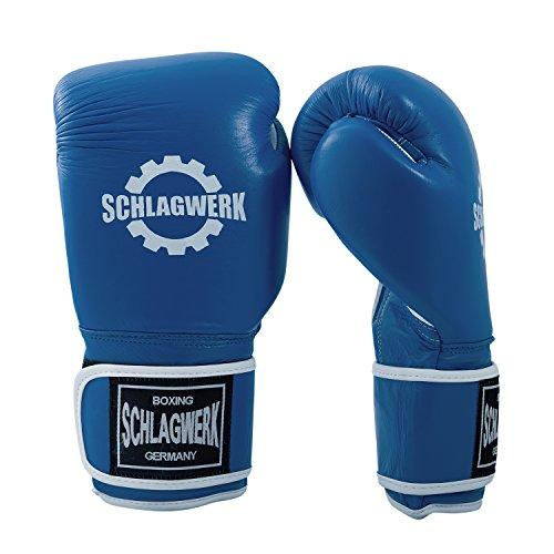 SCHLAGWERK Premium Boxhandschuhe Echtleder 16 oz TS Männer/Frauen (Blau/Weiss) mit Klettverschluss