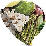 Gorro de punto para hombre vegano, vegano, con fruta, suave, a rayas, estilo Chemo