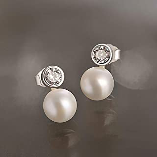zlw-shop Dangle Earrings Ladies Freshwater Cultured Pearl Earrings 925 Silver Cubic Zirconia Simple Stud Earrings 8mm Roun...