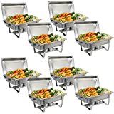 SUPER DEAL 8 Qt Stainless Steel 8 Pack Full Size Chafer Dish w/Water Pan, Food Pan, Fuel Holder and Lid For Buffet/Weddings/Parties/Banquets/Catering Events (8)