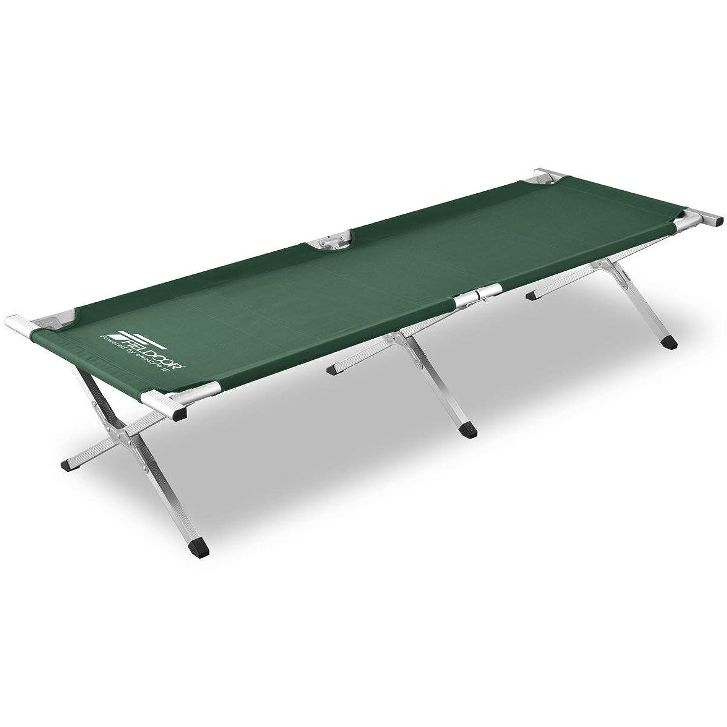 副エンティティ終了しましたFIELDOOR アウトドアコット アルミ キャンプベッド ベンチ 折りたたみ式 簡単 コンパクト