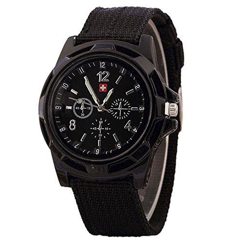 JiaMeng Moda Reloj de Pulsera de Cuarzo de Estilo Militar Reloje Hombres Blue Ray de Cristal Cuarzo analógico Reloj de Aleación Analógica (Negro)