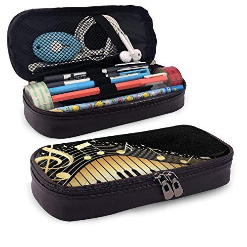 Bling Music Note - Estuche con cremallera para lápices con notas musicales y piano, organizador para oficina y colegio