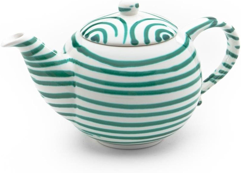 Gmundner Keramik Manufaktur 0100KTGL10 grüngeflammt Teekanne glatt, 1,5 L