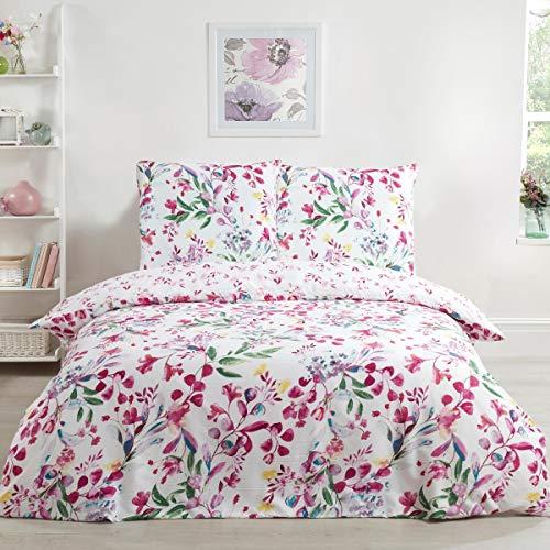 Sleepdown Bettbezug-Set mit Aquarell und Blumenmuster, sehr weich, pflegeleicht, hypoallergen, Bedruckt, wendbar, 135 cm x 200 cm + 1 Kissenbezug 80 cm x 80 cm