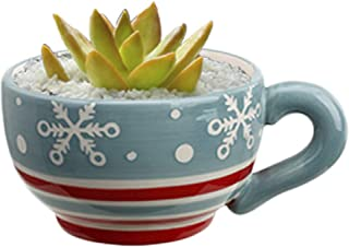 Succulent Planter Snowflake Tea Cup Christmas Flower Pot Decorations Round Ceramic Indoor Herb Zen Outdoor Railing Home Office Decor Patio Garden Landscaping Window Cactus Plant Accent Decorative Gift