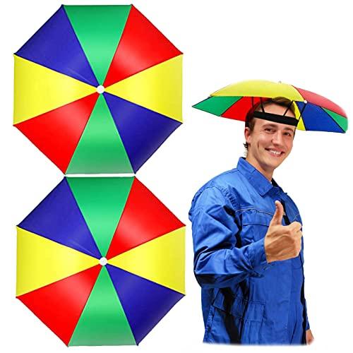2 Piezas Sombrero del Paraguas Gorro de Paraguas Sombrero de Paraguas de Jardinería de Pesca Paraguas de Cabeza Plegable Paraguas Cabeza Colores Sombrero Paraguas Sombrero lluvia Sombrero Sombrilla