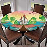 """Elastic Edged Polyester Fitted Table Cover,Princess Castle above Wooden Bridge and Phoenix Bird Fairy Dream World Girls Image,Fits up 40""""-44"""" Diameter Tables,The Ultimate Protection for Your Table,Mul"""