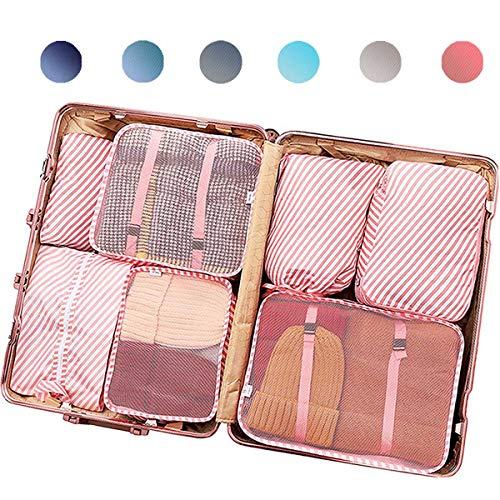 Packwürfel für Reisen., Rosa gestreift - 7 Stück (Pink) - ps-7