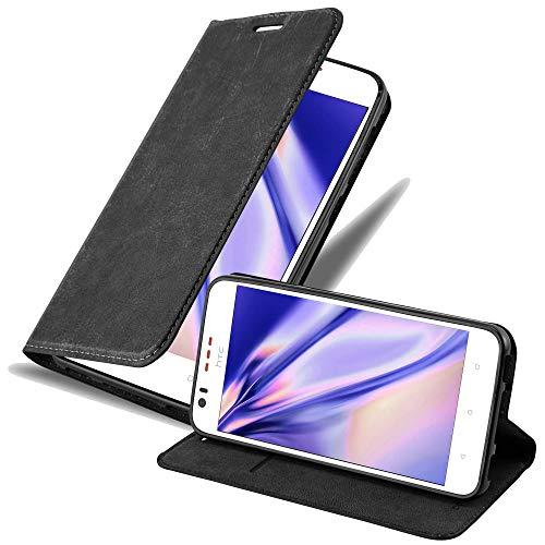 Cadorabo Hülle für HTC Desire 10 Lifestyle/Desire 825 in Nacht SCHWARZ - Handyhülle mit Magnetverschluss, Standfunktion & Kartenfach - Hülle Cover Schutzhülle Etui Tasche Book Klapp Style