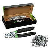 cascade tools - kit di pinze per anelli di maiale (200 pezzi da 3/4 in acciaio zincato anelli inclusi), perfetto per tappezzeria di mobili, tappezzeria auto, carne e salsicce