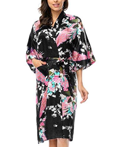 BELLOO Women Silk Dressing Gown Long Night Dress, Black XL