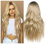 ColorfulPanda Peluca rubia larga rizadas ondulada para mujer - Pelucas cabello natural pelo, uso diario de cosplay de disfraz