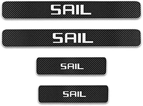 HAOHAO Anti-Kratz-Platte für Autoschwelle für Passend für 4 Stück Externes Carbon-Faser-Leder-Auto Kick-Platten Pedal for Chevrolet SAIL, Einstieg Willkommen Pedal-Tritt Scuff Threshold Bar Prot.