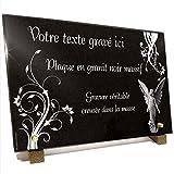 Plaque funéraire Moderne, Fleurs, Ange en Granit gravé Personnalisable 30 x 20 x 2 cm
