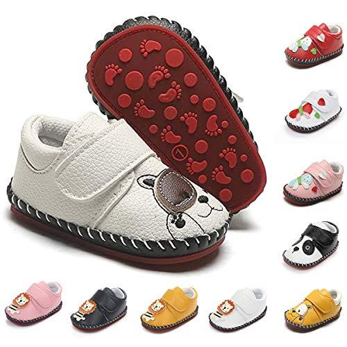 BEBARFER Sapatos para bebês meninos e meninas com desenho animado Chinelos macios mocassins infantis para bebês pré-andadores primeiros passos tênis, L-white, 0-6 Months Infant