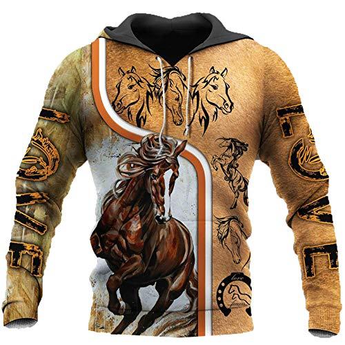 Sudaderas con Capucha de Animales para Hombre con Estampado 3D Love Horse Sudadera con Capucha Harajuku Otoo Streetwear Unisex Casual Chndal,s,1,'en Hoodies 4XL
