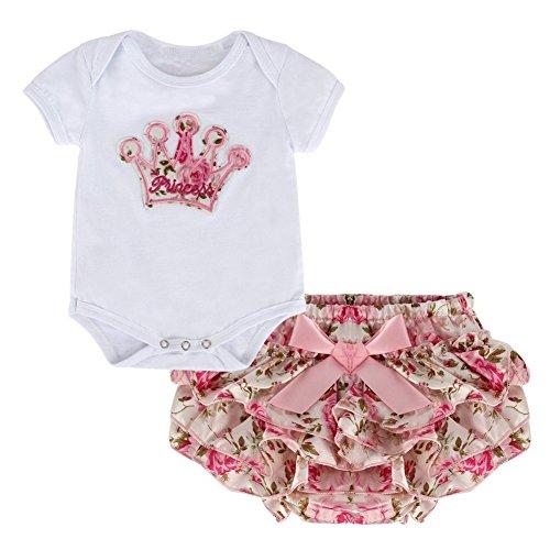 MiyaSudy Baby Girls Kleidung Kurzarm Prinzessin Crown Spielanzug + Floral Divided Rock Bekleidung Sets
