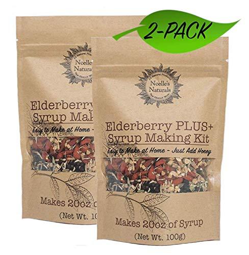 2 PACK Elderberry PLUS+ Syrup Making Kit - Each Kit Makes 20oz When You Add Honey - Organic Black Elderberries - Spices - Cloves - Ginger - Cinnamon - Goji Berries - Astragalus - Echinacea - Rose Hips