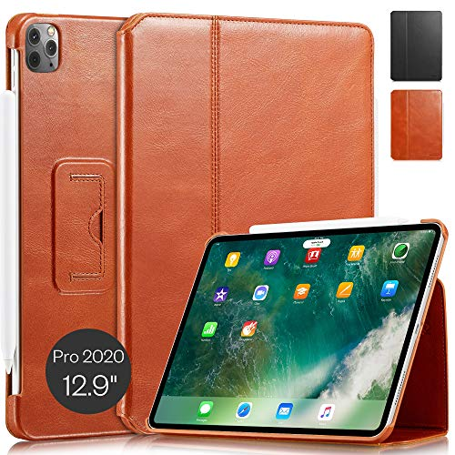 KAVAJ Case Leather Cover'Berlin' works with Apple iPad Pro 12.9' 2020 Cognac-Brown Genuine Cowhide Leather with Built-in Stand Auto Wake/Sleep Function. Slim Fit Smart Folio Covers