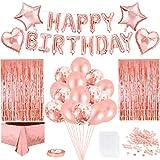 Decorazioni di Compleanno Kit in Oro Rosa, Buon Compleanno Ghirlanda Coriandoli Tovaglia Palloncini Oro Rosa Tenda Glitter Cuore Stella Stagnola Palloncino, per Donna Ragazza Festa Decorazione