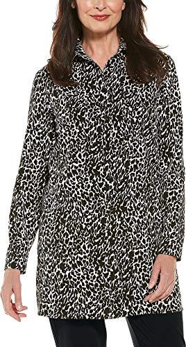 Coolibar UPF 50+ Women's Santorini Tunic Shirt - Sun Protective (X-Large- Black Leopard Print)