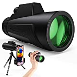 Monocular Telescope - 12X50 High Power HD Monoculars with Holder & Tripod Waterproof Pocket Scope for Smartphone - Clear BAK4 Prism for Bird Watching, Camping & Match