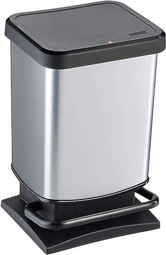 Rotho Paso Mülleimer 20l mit Deckel, Kunststoff (PP) BPA-frei, silber metallic, 20l (29,3 x 26,6 x 45,7 cm)